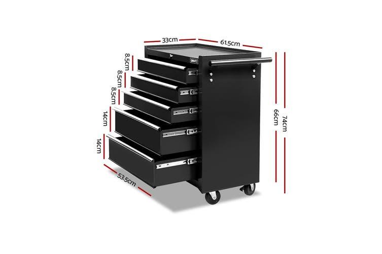 Giantz 5 Drawers Tool Box Chest Toolbox Cabinet Trolley Boxes Organiser Garage Storage BLACK Mechanic Case