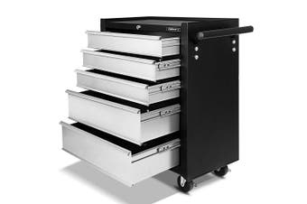 Giantz 5 Drawers Tool Box Chest Toolbox Cabinet Trolley Boxes Organiser Garage Storage GREY Mechanic Case