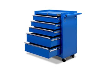 Giantz 5 Drawers Tool Box Chest Toolbox Cabinet Trolley Boxes Organiser Garage Storage BLUE Mechanic Case