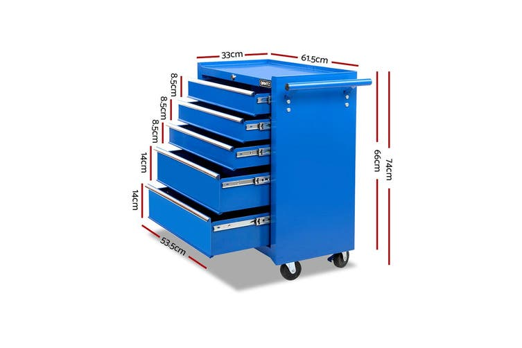 Giantz 5 Drawers Tool Box Chest Toolbox Cabinet Trolley Boxes Organiser Garage Storage BLUE Mechanic Case