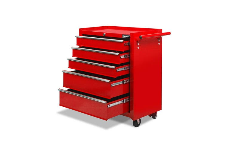 Giantz 5 Drawers Tool Box Chest Toolbox Cabinet Trolley Boxes Organiser Garage Storage RED Mechanic Case