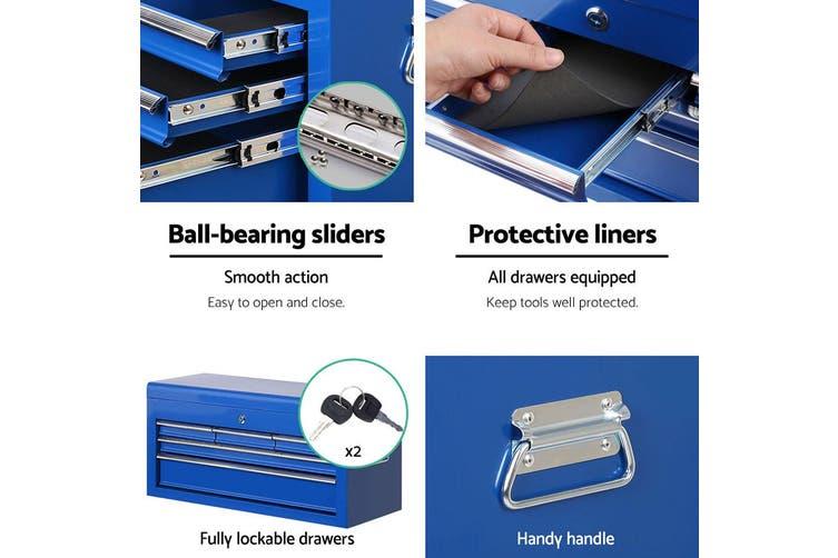 Giantz 7 Drawer Mechanic Tool Box Trolley Cart BLUE Garage Storage Cabinet Chest Boxes