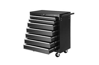 Giantz 7 Drawers Mechanic Tool Box Trolley Toolbox Cabinet BLACK Chest Boxes Organiser Garage Storage Set Case Roller