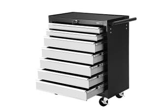 Giantz 7 Drawers Mechanic Tool Box Trolley Toolbox Cabinet BLACK SILVER Chest Boxes Organiser Garage Storage Case Roller