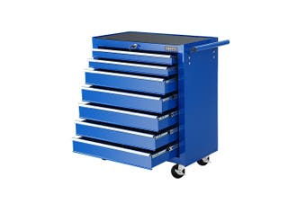 Giantz 7 Drawers Mechanic Tool Box Trolley Toolbox Cabinet BLUE Chest Boxes Organiser Garage Storage Case Roller