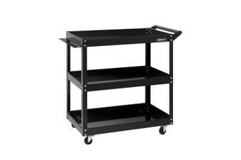 Giantz Mechanic 3-Tier Tool Tray Trolley BLACK Cart Roller Organizer Garage Organizer