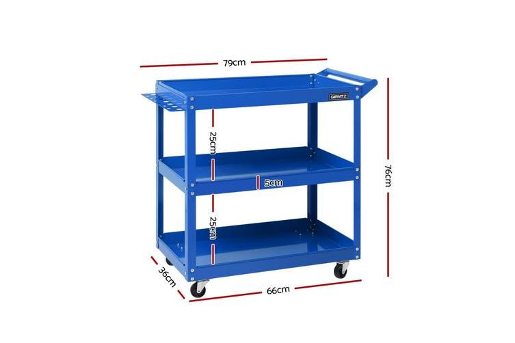 Giantz Mechanic 3-Tier Tool Tray Trolley BLUE Cart Roller Organizer Garage Organizer