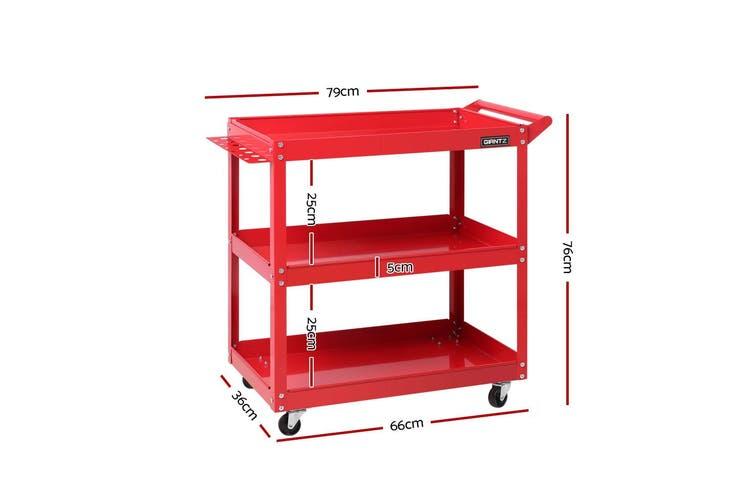 Giantz Mechanic 3-Tier Tool Tray Trolley RED Cart Roller Organizer Garage Organizer