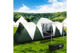 Weisshorn Family Camping Tent 12 Person Hiking Beach Tents (3 Rooms) Green