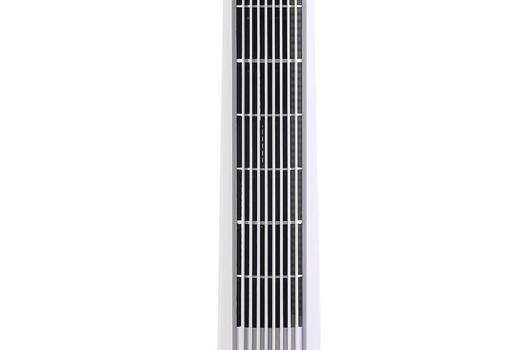 Devanti Oscillating Tower Fan 94cm WHITE Cross Flow Wind With Remote Control and Timer Slim Compact Space Saving 3 Speed Portable