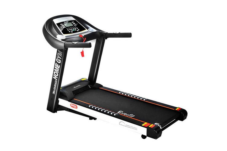 Everfit Electric Treadmill 450mm Home Gym Exercise Running Machine Fitness Equipment Bonus Fitness Tracker Anti Slip BLACK WHITE Energy Efficient