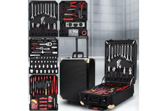 Giantz 816 Pieces Tool Kit Trolley Case Mechanics Box Toolbox Portable DIY SET Black