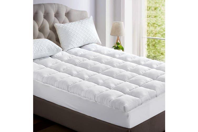 Giselle Bedding Pillow Top Mattress Toper 5cm 1000 GSM (Queen) Bamboo Fibre Pillowtop Pad Cover