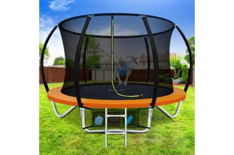 Everfit 8FT Trampoline Round Trampolines Kids Enclosure Safety Net Pad Outdoor Orange