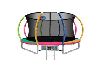 12FT Trampoline Round Trampolines With Basketball Hoop Kids Present Gift Enclosure Safety Net Pad Outdoor Multi-coloured