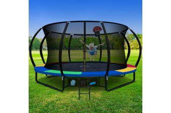 Everfit RAINBOW 14FT Trampoline Round Trampolines Basketball Set Hoop Kids Mat with Net Pad
