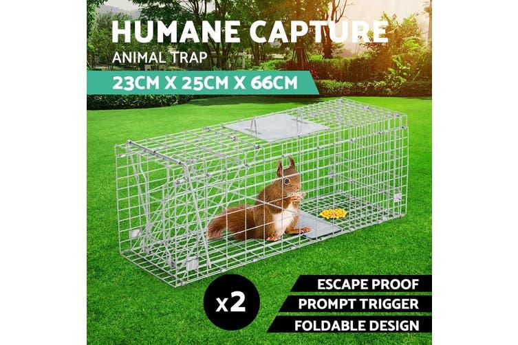 2x Trap Humane Possum Cage Live Animal Safe Catch Rabbit Cat Hare Fox Bird 66CM