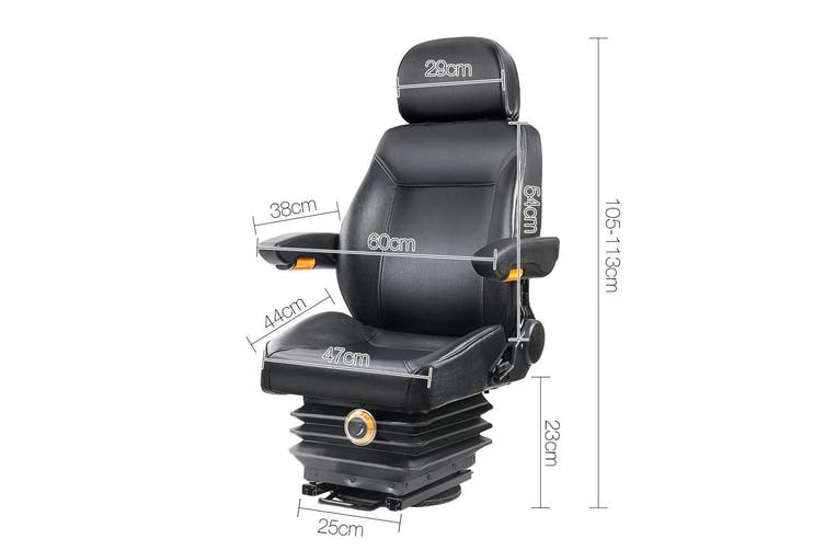Giantz Tractor Seat Forklift Universal Adjustable Backrest Chair Suspension Truck PU Leather Foldable Armrest Soft Padded
