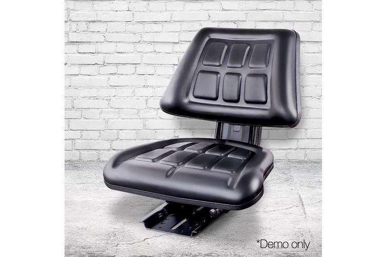 Giantz PU Leather Tractor Seat Universal Digger Forklift Excavator Truck Chair Adjustable Backrest