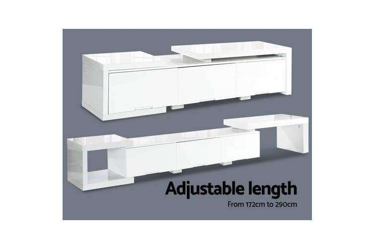 Artiss 290CM TV Cabinet Entertainment Unit Stand High Gloss Lowline White
