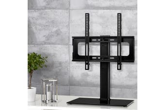 Artiss Table Top TV Swivel Mounted Stand Mount Tempered Glass Base 32-50inch Screen Size BLACK Swivel