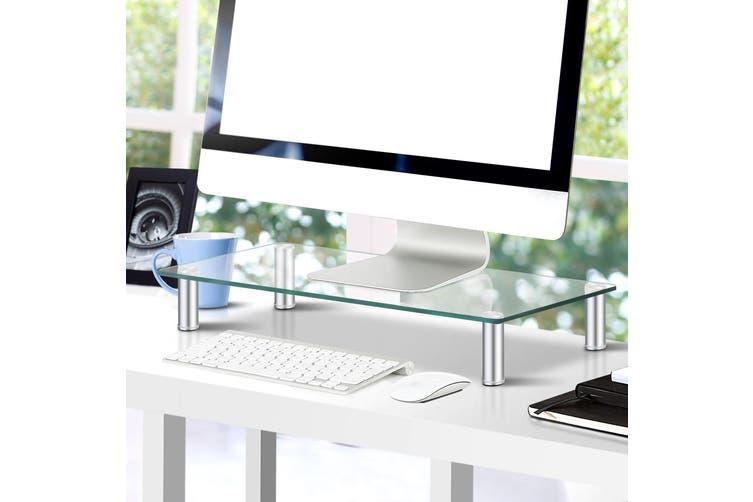 Artiss Sleek Glass Monitor Stand Desktop Riser Tempered Glass Aluminium Finish Legs Silver