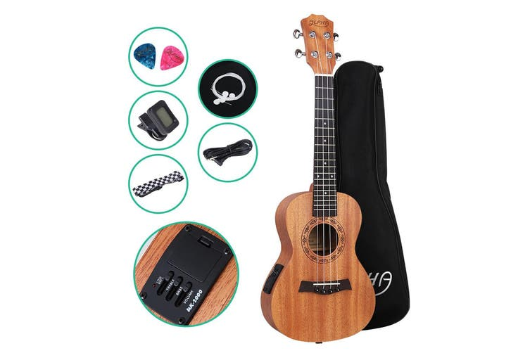 Alpha 23 inch Electric Ukelele Concert Mahogany Ukeleles Uke Hawaii Guitar with built in EQ Tuner Acoustic Amplifier