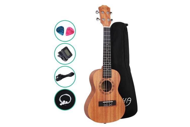 Alpha 23 Inch Concert Ukulele Mahogany Ukeleles Uke Hawaii Guitar w/ Carry Bag Tuner