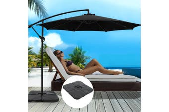 Instahut 3M Umbrella w/50x50cm Base Outdoor Umbrellas Cantilever Sun Stand UV Garden Black