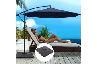 Instahut 3M Umbrella w/50x50cm Base Outdoor Umbrellas Cantilever Sun Stand UV Garden Navy
