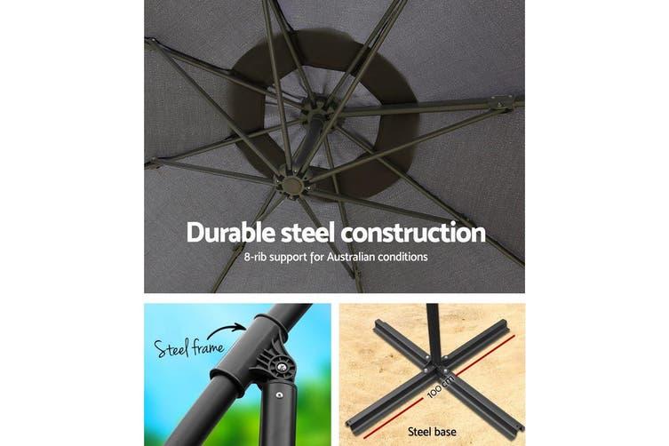 Instahut 3M Outdoor Umbrella Cantilever Garden Umbrellas Shade Patio CA