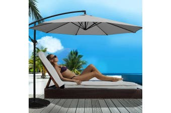 Instahut 3M Outdoor Umbrella Cantilever Garden Umbrellas Deck Shade Deck Grey
