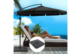 Instahut 3M Umbrella w/ 50x50cm Base Outdoor Umbrellas Cantilever Patio Sun Beach UV Black