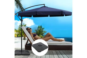 Instahut 3M Umbrella w/ 50x50cm Base Outdoor Umbrellas Cantilever Patio Sun Beach UV Navy