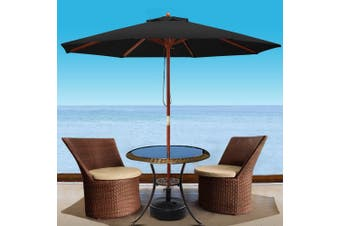 Instahut 3M Outdoor Pole Umbrella Cantilever Stand Garden Umbrellas Deck BK