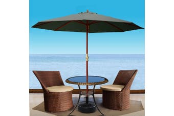 Instahut Outdoor Umbrella Pole Umbrellas 3M W/ Base Garden Stand Deck Charcoal
