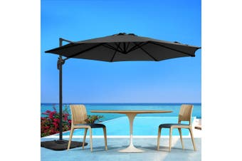 Instahut 3M Roma Outdoor Umbrella Garden Umbrellas Patio 360 Degree Deck BK