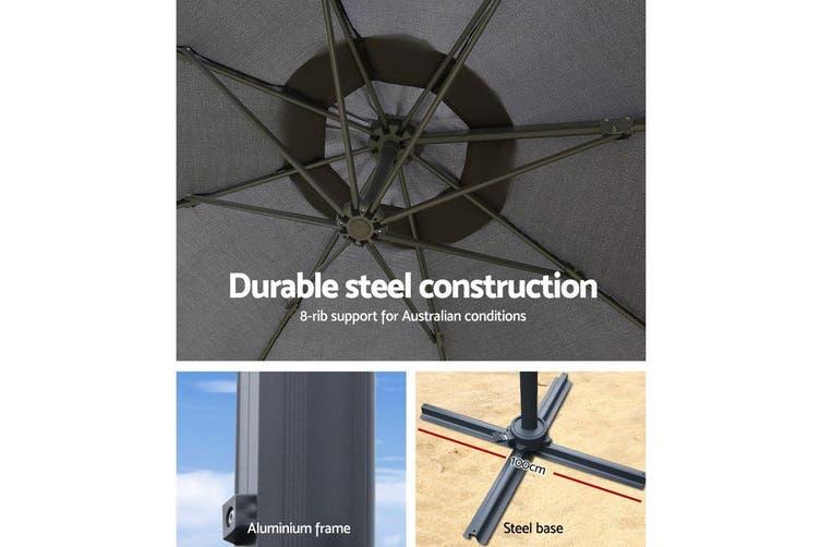 Instahut 3M Roma Outdoor Umbrella Garden Umbrellas 360 Degree Deck Charcoal