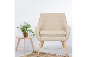 Artiss Armchair Lounge Chair Accent Armchairs Fabric Single Sofa Chairs Beige