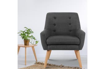 Artiss Armchair Tub Chair Single Accent Armchairs Sofa Lounge Fabric Charcoal