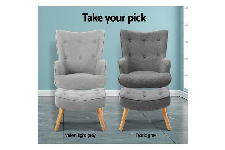 Armchair Lounge Chair Ottoman Accent Armchairs Fabric Chairs Grey