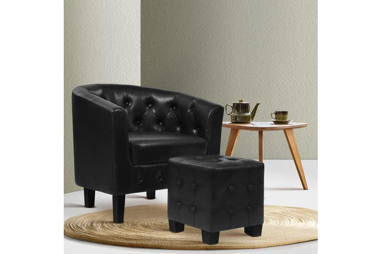 Armchair Lounge Chair Ottoman Tub Accent Chairs PU Sofa Armchairs