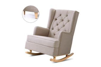 Rocking Armchair Feeding Chair Fabric Armchairs Lounge Recliner BG