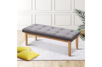 Artiss Bench Bedroom Ottoman Benches Upholstered Fabric Chair Foot Stool Wooden Cushion Seat120cm GREY