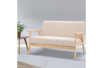 Replica Armchair 2 Seater Armchairs Sofa Lounge Retro Fabric Beige