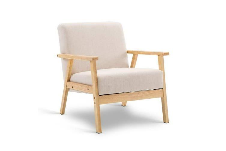 Armchair Single Sofa Lounge Armchairs Scandinavian Fabric Beige