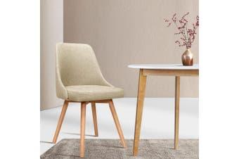 Artiss 2x Replica Dining Chairs Beech Wooden Timber Chair Kitchen Fabric Beige