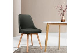 Artiss 2x Replica Dining Chairs Beech Wooden Chair Cafe Kitchen Fabric Charcoal