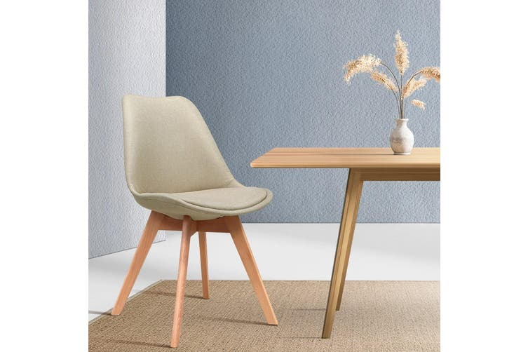 Artiss DSW Dining Chairs Retro Replica Eames Eiffel Kitchen Chair Cafe Beige Fabric x2