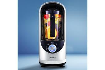 Devanti Commercial Vaccuum Blender Juicer Mixer Food Processor Smoothie Black Multiple Settings 1L Tumbler Har Vacuum Seal SILVER
